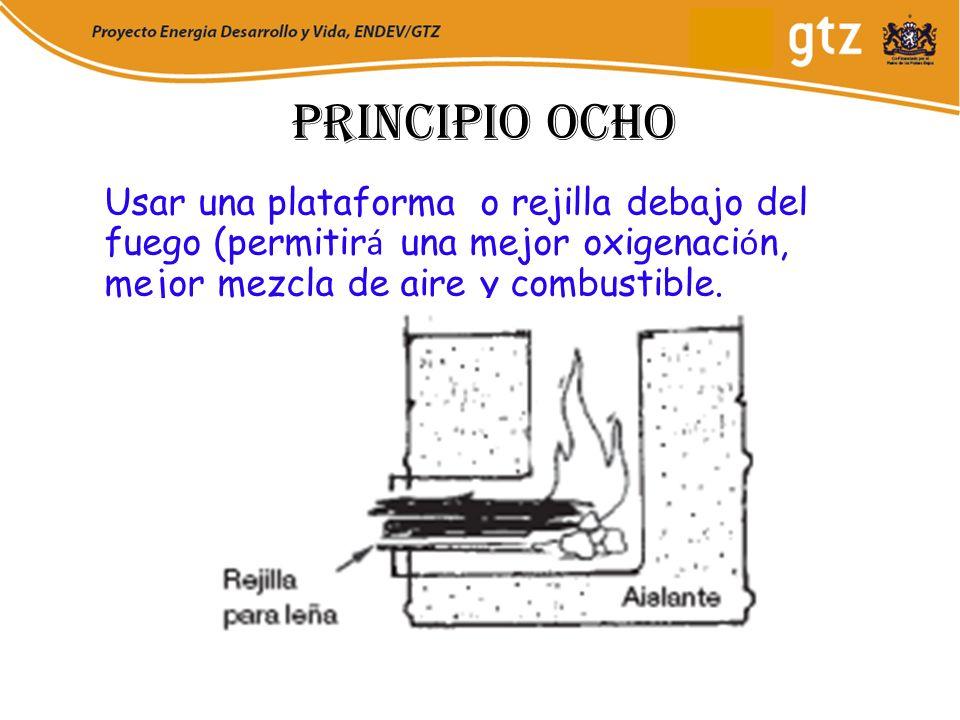 Principio ocho Usar una plataforma o rejilla debajo del fuego (permitir á una mejor oxigenaci ó n, mejor mezcla de aire y combustible.