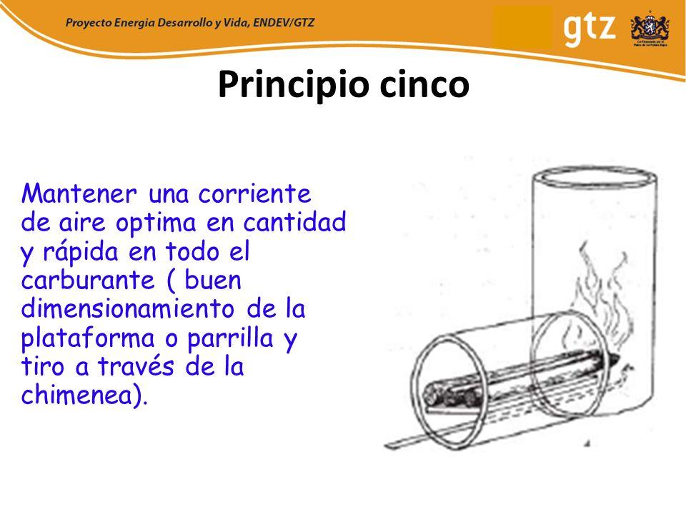 Principio cinco Mantener una corriente de aire optima en cantidad y rápida en todo el carburante ( buen dimensionamiento de la plataforma o parrilla y