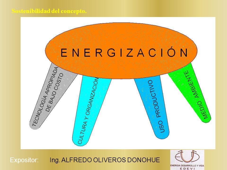 Expositor:Ing. ALFREDO OLIVEROS DONOHUE Sostenibilidad del concepto.