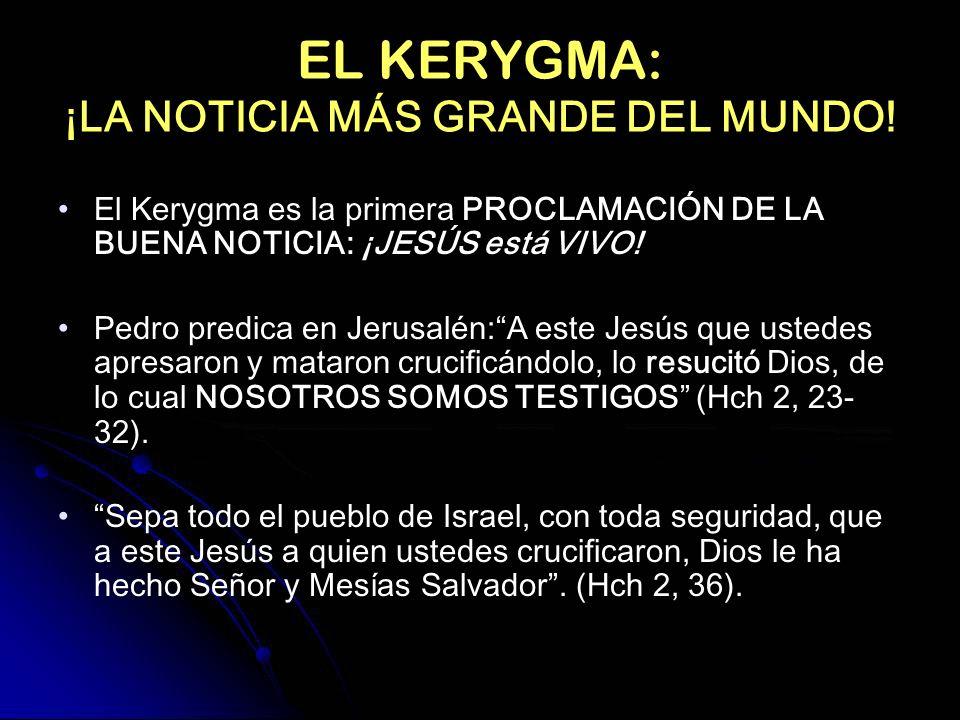 EL KERYGMA: ¡LA NOTICIA MÁS GRANDE DEL MUNDO! El Kerygma es la primera PROCLAMACIÓN DE LA BUENA NOTICIA: ¡JESÚS está VIVO! Pedro predica en Jerusalén:
