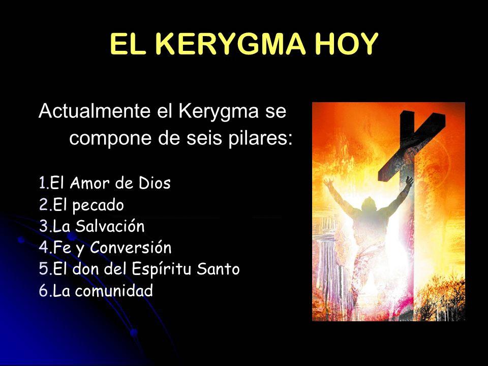 EL KERYGMA HOY Actualmente el Kerygma se compone de seis pilares: 1.El Amor de Dios 2.El pecado 3.La Salvación 4.Fe y Conversión 5.El don del Espíritu