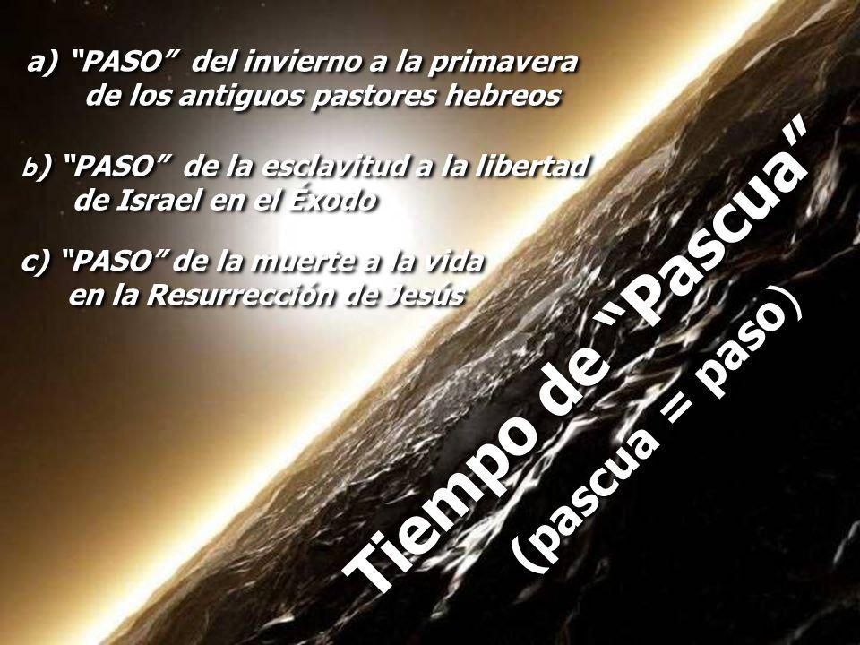 c) PASO de la muerte a la vida en la Resurrección de Jesús c) PASO de la muerte a la vida en la Resurrección de Jesús Tiempo de Pascua (pascua = paso)