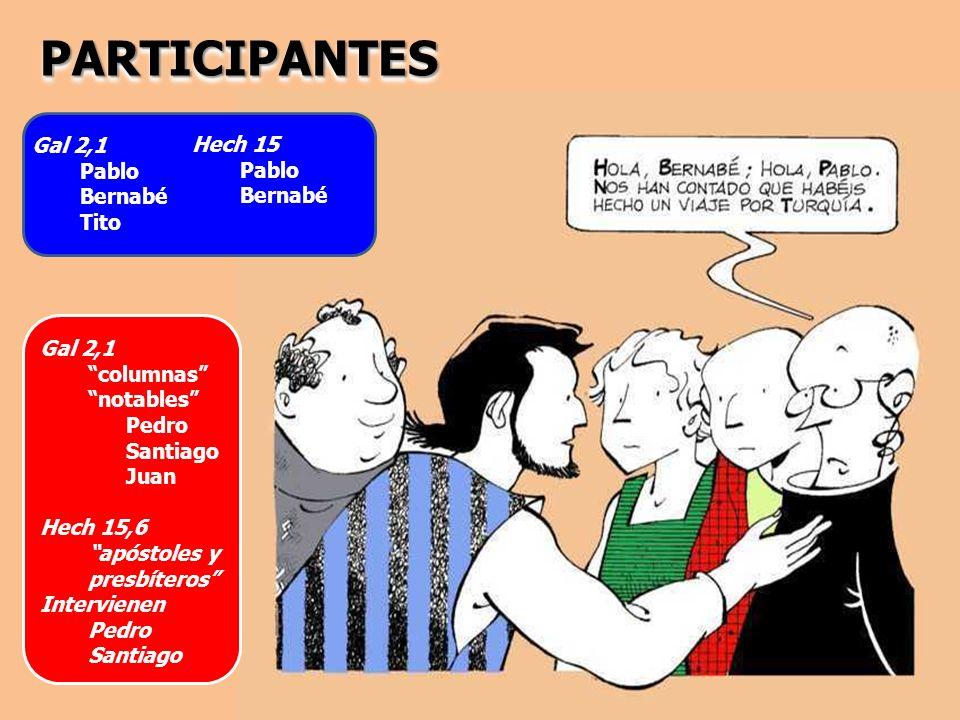 PARTICIPANTESPARTICIPANTES Gal 2,1 Pablo Bernabé Tito Hech 15 Pablo Bernabé Gal 2,1 columnas notables Pedro Santiago Juan Hech 15,6 apóstoles y presbí