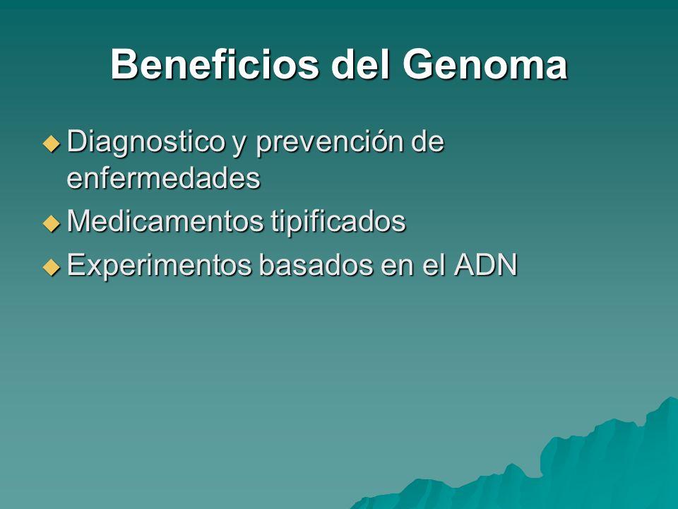 Beneficios del Genoma Diagnostico y prevención de enfermedades Diagnostico y prevención de enfermedades Medicamentos tipificados Medicamentos tipifica