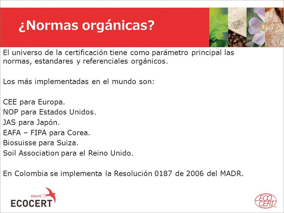 El universo de la certificación tiene como parámetro principal las normas, estandares y referenciales orgánicos. Los más implementadas en el mundo son