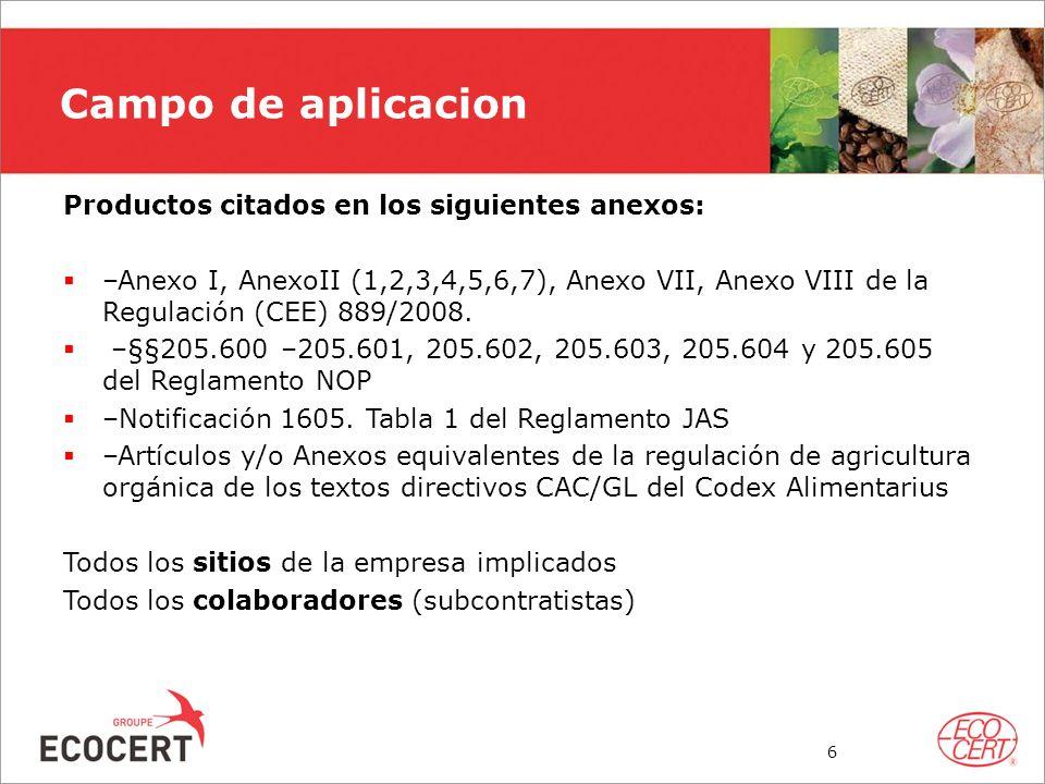 Campo de aplicacion Productos citados en los siguientes anexos: –Anexo I, AnexoII (1,2,3,4,5,6,7), Anexo VII, Anexo VIII de la Regulación (CEE) 889/20