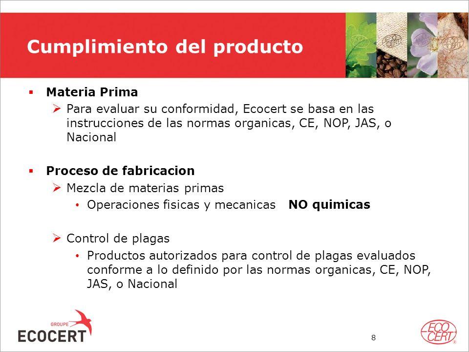 Cumplimiento del producto Materia Prima Para evaluar su conformidad, Ecocert se basa en las instrucciones de las normas organicas, CE, NOP, JAS, o Nac