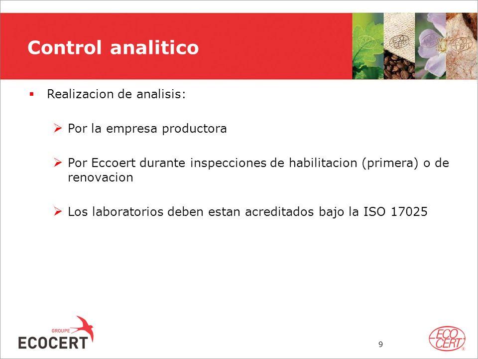 Realizacion de analisis: Por la empresa productora Por Eccoert durante inspecciones de habilitacion (primera) o de renovacion Los laboratorios deben e