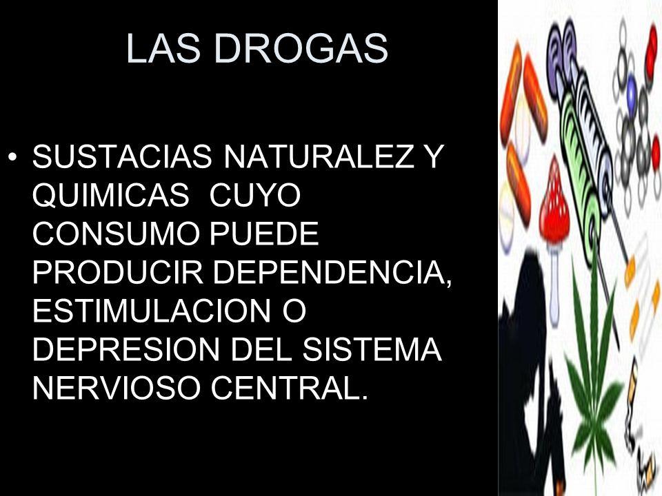 LAS DROGAS SUSTACIAS NATURALEZ Y QUIMICAS CUYO CONSUMO PUEDE PRODUCIR DEPENDENCIA, ESTIMULACION O DEPRESION DEL SISTEMA NERVIOSO CENTRAL.