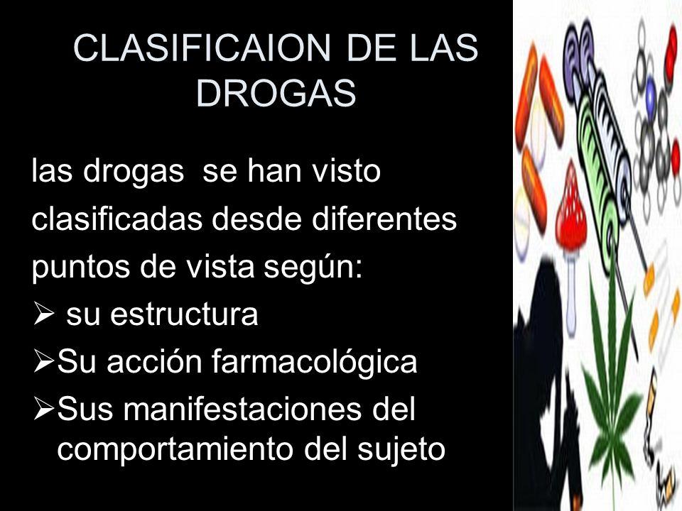 CLASIFICAION DE LAS DROGAS las drogas se han visto clasificadas desde diferentes puntos de vista según: su estructura Su acción farmacológica Sus mani