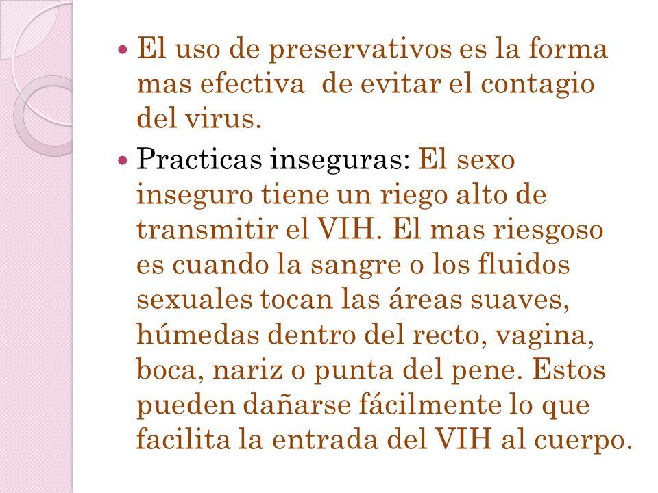 TRASMISION DEL VIH DURANTE EL CONTACTO SEXUAL La vía sexual es la forma mas habitual de forma de contagio( 75% de los casos). El HIV necesita entrar e