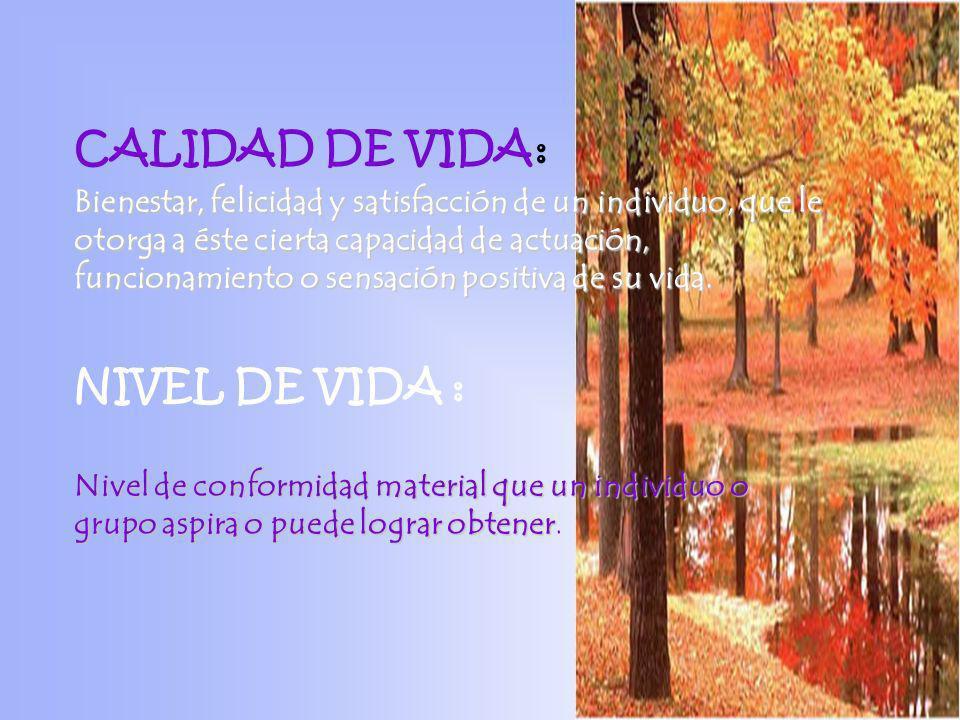 CALIDAD DE VIDA : Bienestar, felicidad y satisfacción de un individuo, que le otorga a éste cierta capacidad de actuación, funcionamiento o sensación