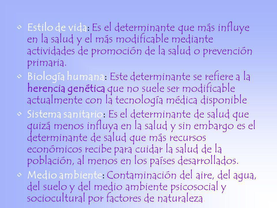 Estilo de vida: Es el determinante que más influye en la salud y el más modificable mediante actividades de promoción de la salud o prevención primari