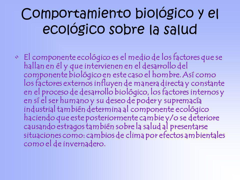 Comportamiento biológico y el ecológico sobre la salud El componente ecológico es el medio de los factores que se hallan en él y que intervienen en el