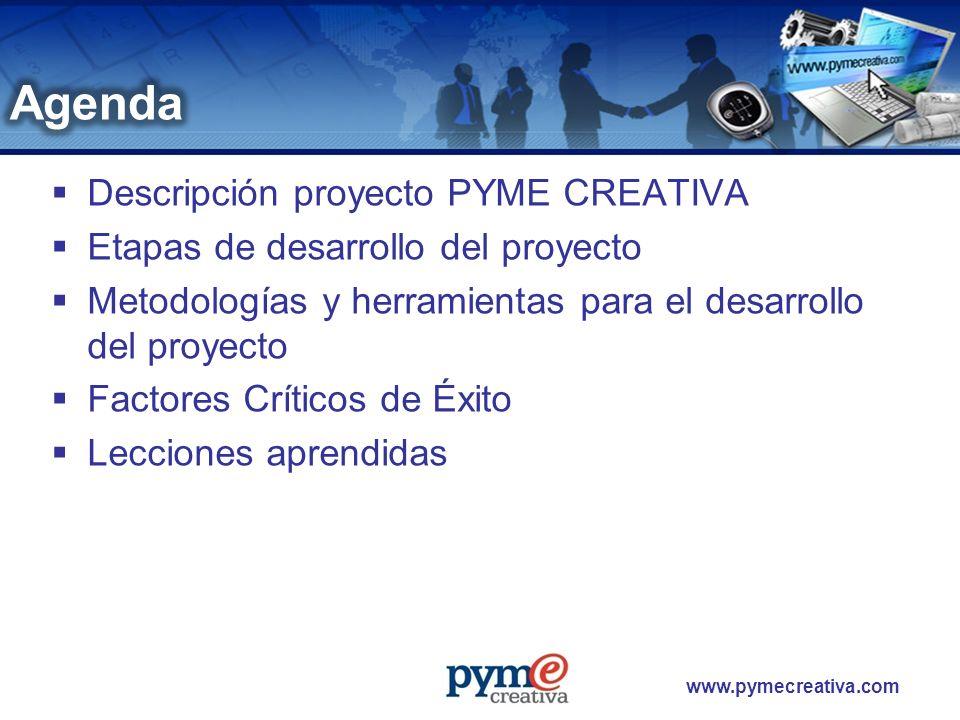 www.pymecreativa.com Es una plataforma tecnológica de e-servicios que brinda a sus asociados la posibilidad de contar con herramientas de tecnología de información para el desarrollo más eficiente de su gestión y que le permita enfrentar las condiciones actuales de competitividad de los mercados nacionales e internacionales