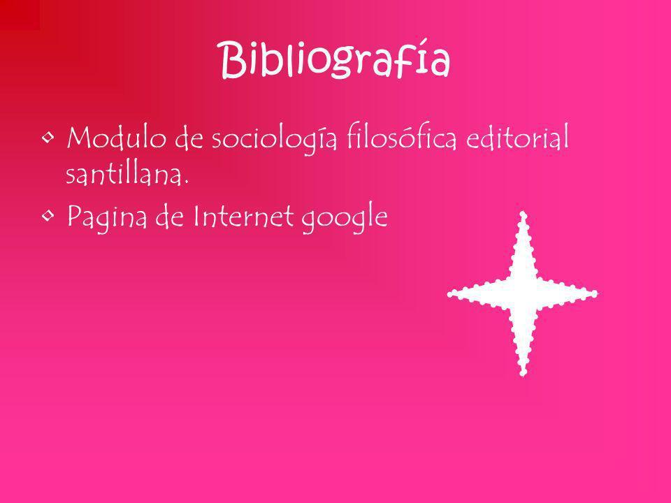 Bibliografía Modulo de sociología filosófica editorial santillana. Pagina de Internet google