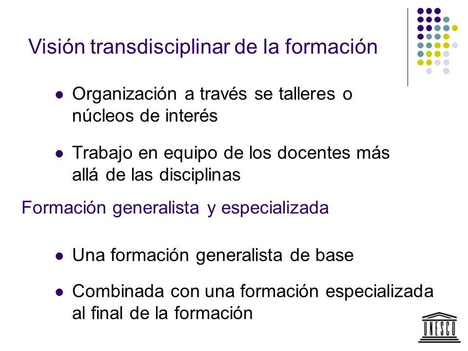 Visión transdisciplinar de la formación Organización a través se talleres o núcleos de interés Trabajo en equipo de los docentes más allá de las disci