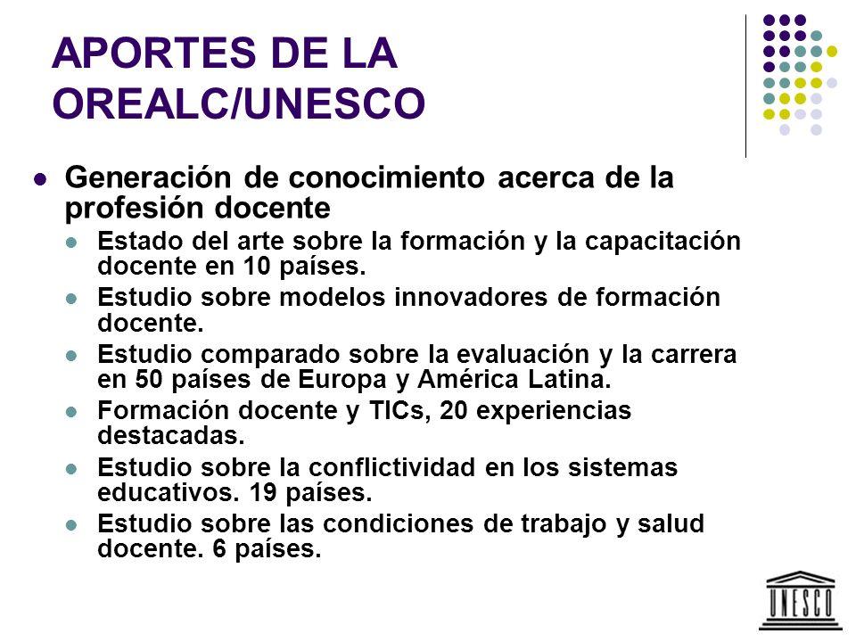 APORTES DE LA OREALC/UNESCO Generación de conocimiento acerca de la profesión docente Estado del arte sobre la formación y la capacitación docente en