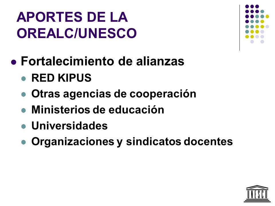 APORTES DE LA OREALC/UNESCO Fortalecimiento de alianzas RED KIPUS Otras agencias de cooperación Ministerios de educación Universidades Organizaciones
