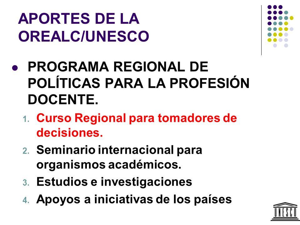 APORTES DE LA OREALC/UNESCO PROGRAMA REGIONAL DE POLÍTICAS PARA LA PROFESIÓN DOCENTE. 1. Curso Regional para tomadores de decisiones. 2. Seminario int