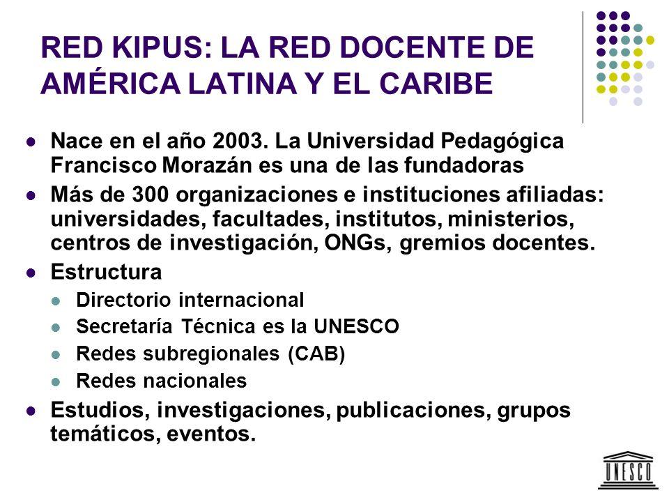 RED KIPUS: LA RED DOCENTE DE AMÉRICA LATINA Y EL CARIBE Nace en el año 2003. La Universidad Pedagógica Francisco Morazán es una de las fundadoras Más