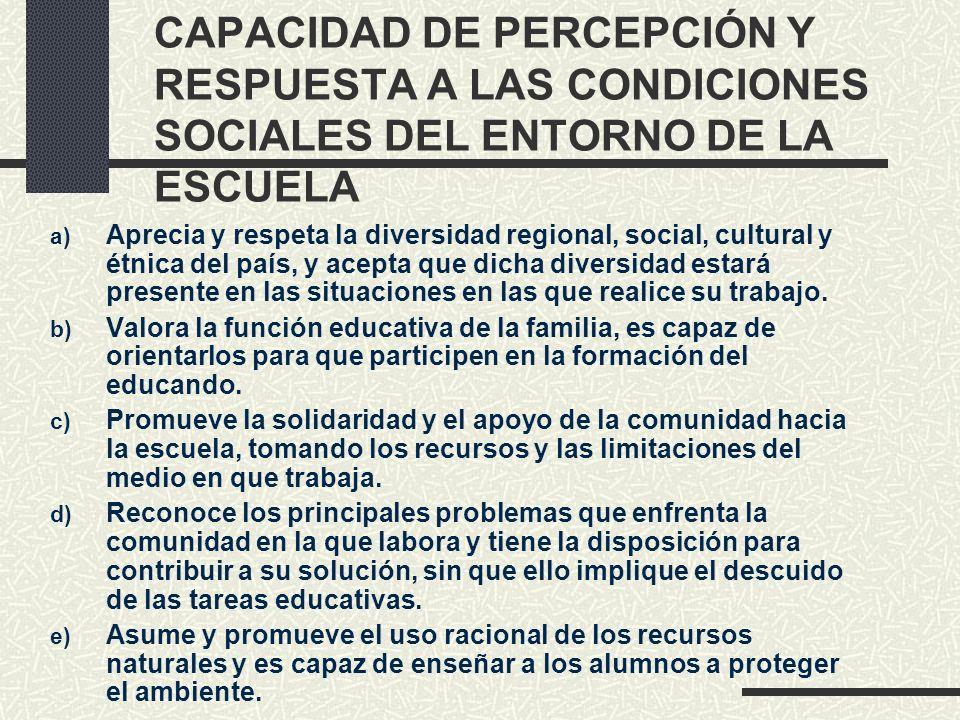 CAPACIDAD DE PERCEPCIÓN Y RESPUESTA A LAS CONDICIONES SOCIALES DEL ENTORNO DE LA ESCUELA a) Aprecia y respeta la diversidad regional, social, cultural