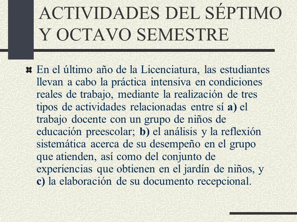 ACTIVIDADES DEL SÉPTIMO Y OCTAVO SEMESTRE En el último año de la Licenciatura, las estudiantes llevan a cabo la práctica intensiva en condiciones real