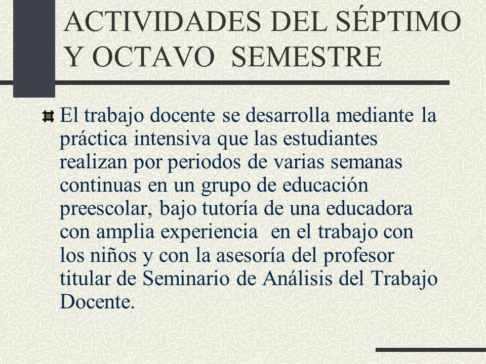 ACTIVIDADES DEL SÉPTIMO Y OCTAVO SEMESTRE El trabajo docente se desarrolla mediante la práctica intensiva que las estudiantes realizan por periodos de