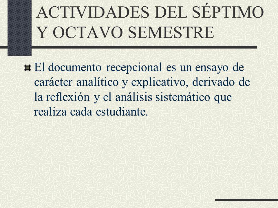 El documento recepcional es un ensayo de carácter analítico y explicativo, derivado de la reflexión y el análisis sistemático que realiza cada estudia