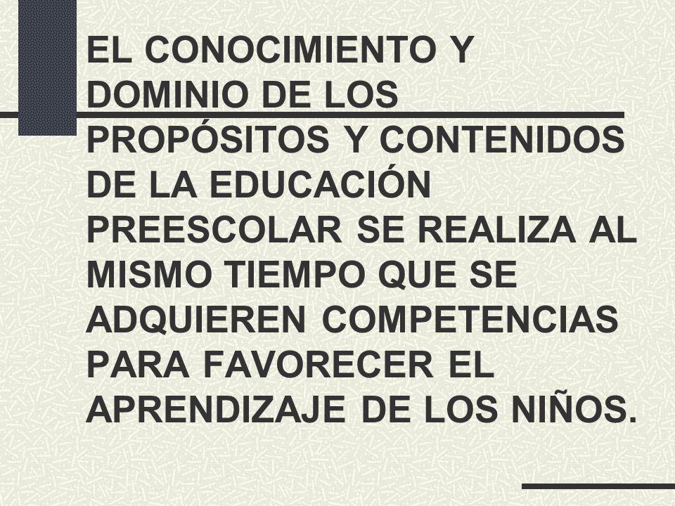 EL CONOCIMIENTO Y DOMINIO DE LOS PROPÓSITOS Y CONTENIDOS DE LA EDUCACIÓN PREESCOLAR SE REALIZA AL MISMO TIEMPO QUE SE ADQUIEREN COMPETENCIAS PARA FAVO