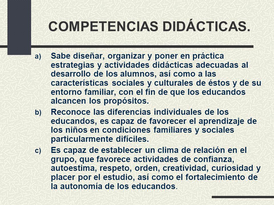 COMPETENCIAS DIDÁCTICAS. a) Sabe diseñar, organizar y poner en práctica estrategias y actividades didácticas adecuadas al desarrollo de los alumnos, a