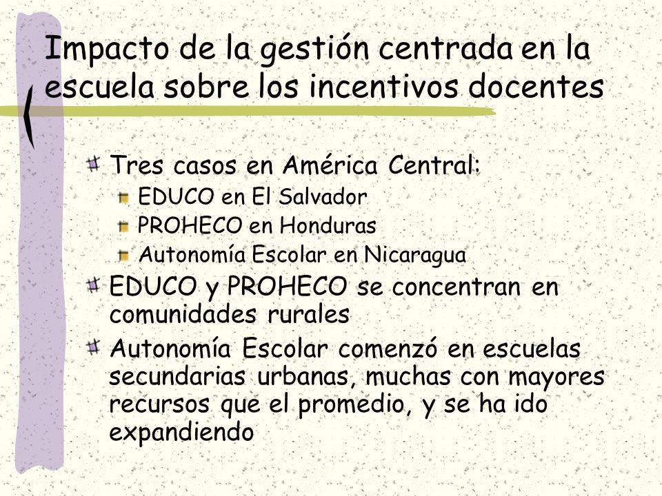 Impacto de la gestión centrada en la escuela sobre los incentivos docentes Tres casos en América Central: EDUCO en El Salvador PROHECO en Honduras Aut