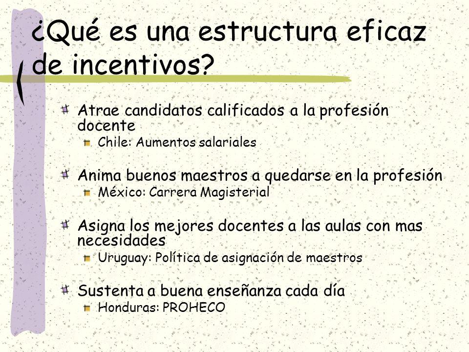 ¿Qué es una estructura eficaz de incentivos? Atrae candidatos calificados a la profesión docente Chile: Aumentos salariales Anima buenos maestros a qu