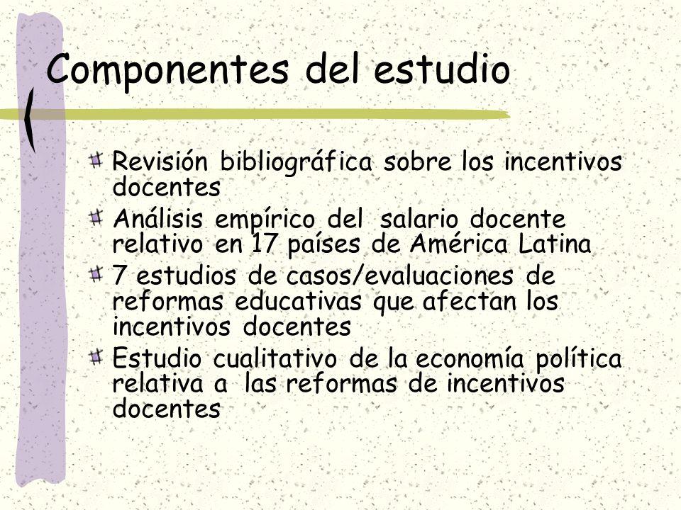 Componentes del estudio Revisión bibliográfica sobre los incentivos docentes Análisis empírico del salario docente relativo en 17 países de América La