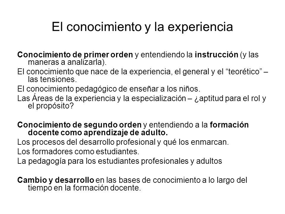 El conocimiento y la experiencia Conocimiento de primer orden y entendiendo la instrucción (y las maneras a analizarla).