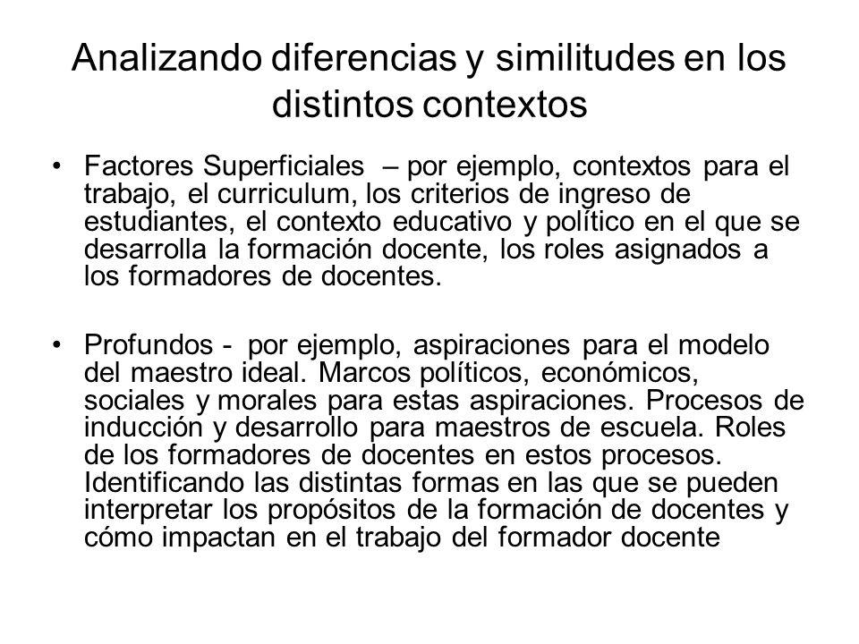 Analizando diferencias y similitudes en los distintos contextos Factores Superficiales – por ejemplo, contextos para el trabajo, el curriculum, los criterios de ingreso de estudiantes, el contexto educativo y político en el que se desarrolla la formación docente, los roles asignados a los formadores de docentes.