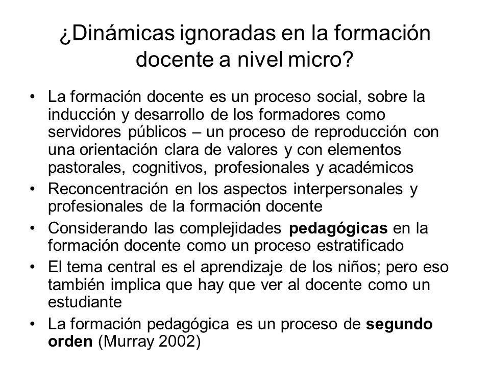¿Dinámicas ignoradas en la formación docente a nivel micro.