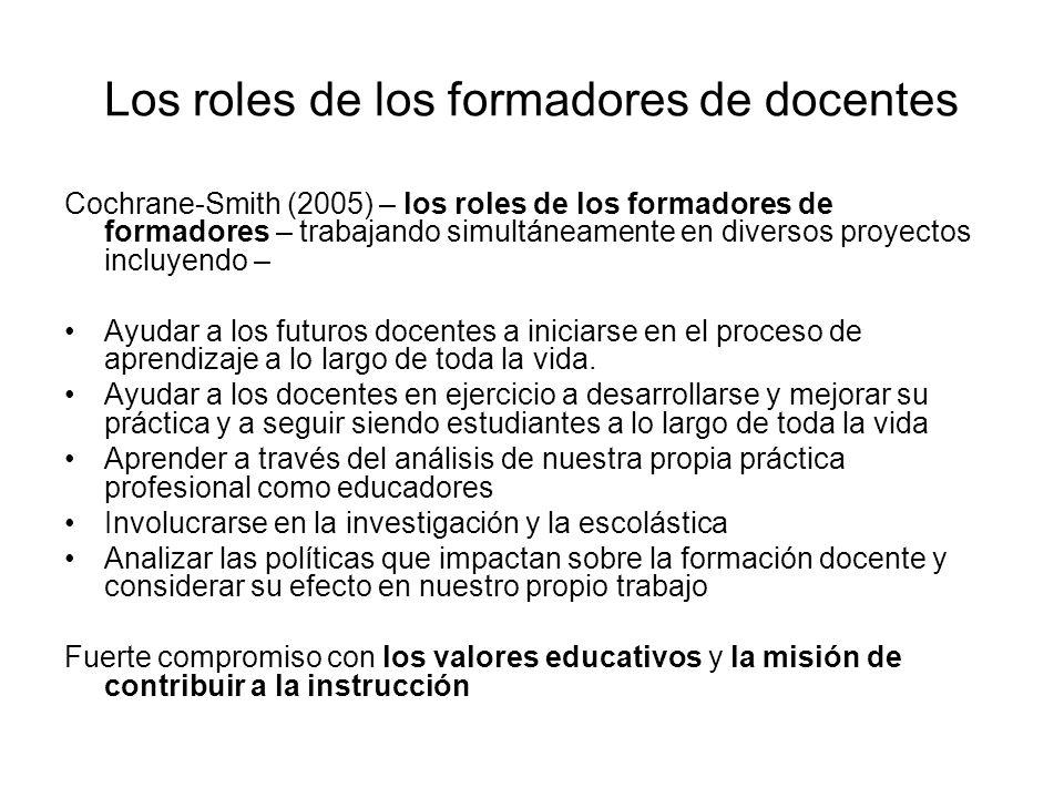 Los roles de los formadores de docentes Cochrane-Smith (2005) – los roles de los formadores de formadores – trabajando simultáneamente en diversos proyectos incluyendo – Ayudar a los futuros docentes a iniciarse en el proceso de aprendizaje a lo largo de toda la vida.