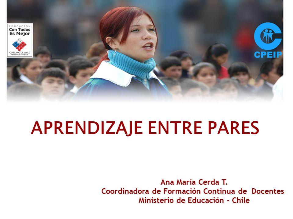 APRENDIZAJE ENTRE PARES Ana María Cerda T. Coordinadora de Formación Continua de Docentes Ministerio de Educación - Chile