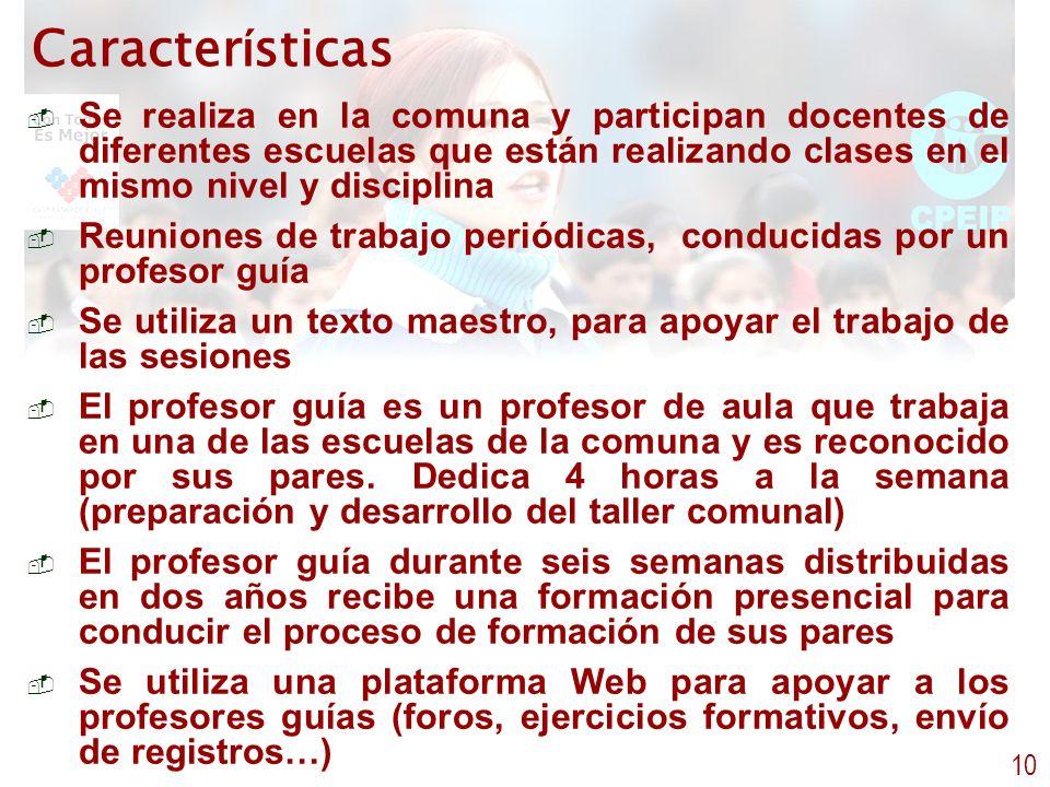 Caracter í sticas - Se realiza en la comuna y participan docentes de diferentes escuelas que están realizando clases en el mismo nivel y disciplina -