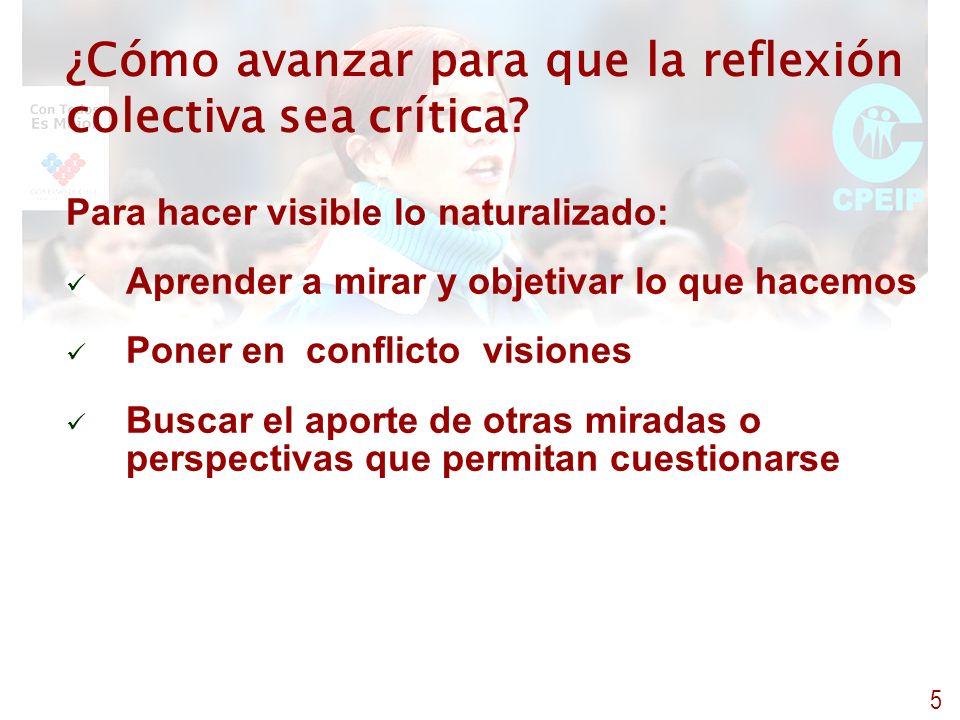 ¿Cómo avanzar para que la reflexión colectiva sea crítica? Para hacer visible lo naturalizado: Aprender a mirar y objetivar lo que hacemos Poner en co