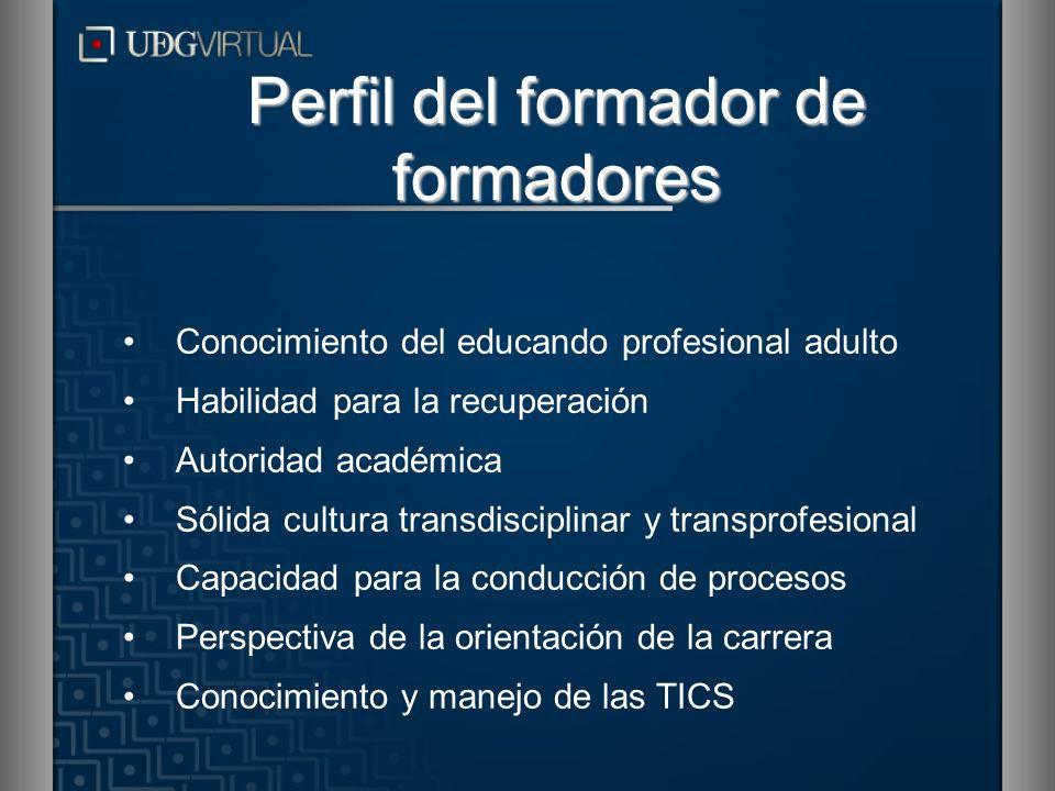 Conocimiento del educando profesional adulto Habilidad para la recuperación Autoridad académica Sólida cultura transdisciplinar y transprofesional Cap