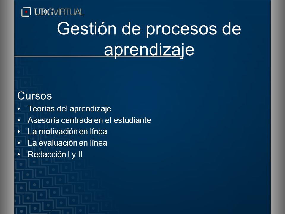 Gestión de procesos de aprendizaje Cursos Teorías del aprendizaje Asesoría centrada en el estudiante La motivación en línea La evaluación en línea Red