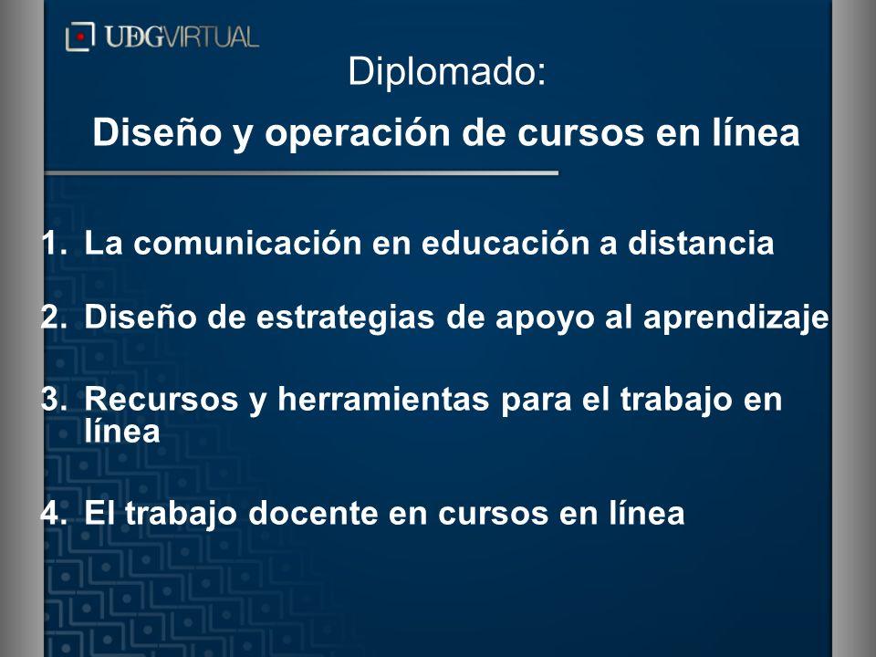 Diplomado: Diseño y operación de cursos en línea 1.La comunicación en educación a distancia 2.Diseño de estrategias de apoyo al aprendizaje 3.Recursos