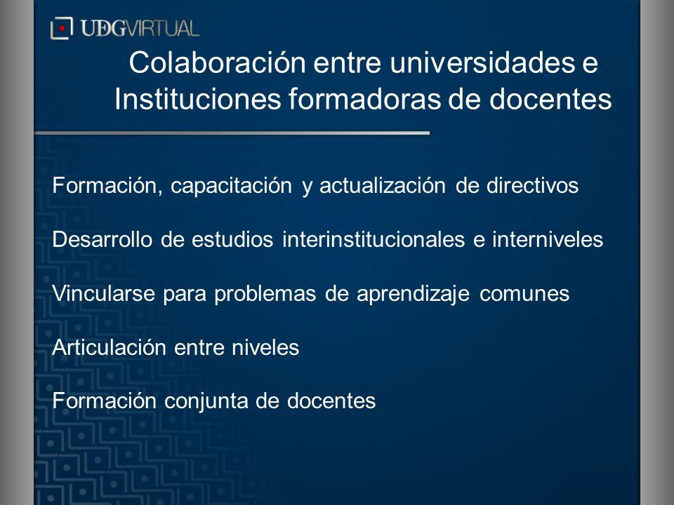 Formación, capacitación y actualización de directivos Desarrollo de estudios interinstitucionales e interniveles Vincularse para problemas de aprendiz
