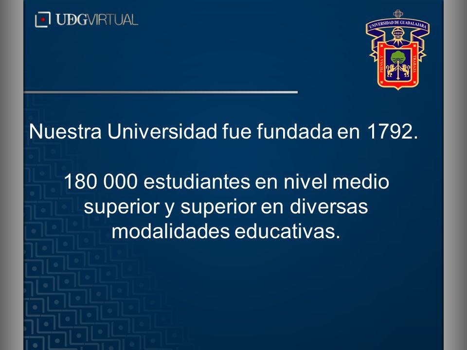 Nuestra Universidad fue fundada en 1792. 180 000 estudiantes en nivel medio superior y superior en diversas modalidades educativas.