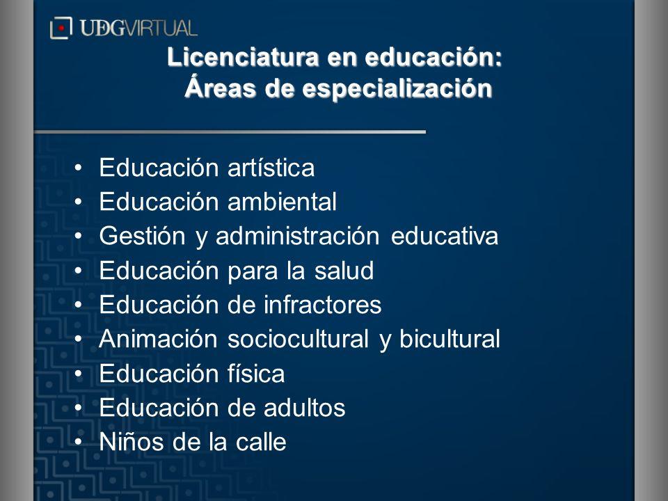 Licenciatura en educación: Áreas de especialización Educación artística Educación ambiental Gestión y administración educativa Educación para la salud
