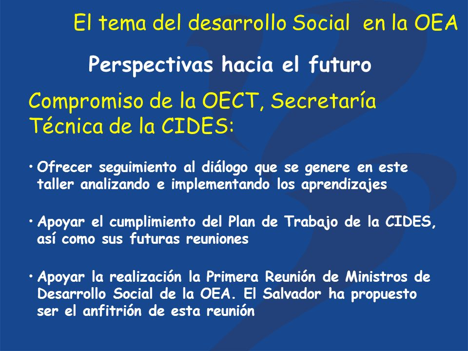 El tema del desarrollo Social en la OEA Perspectivas hacia el futuro Ofrecer seguimiento al diálogo que se genere en este taller analizando e implementando los aprendizajes Apoyar el cumplimiento del Plan de Trabajo de la CIDES, así como sus futuras reuniones Apoyar la realización la Primera Reunión de Ministros de Desarrollo Social de la OEA.