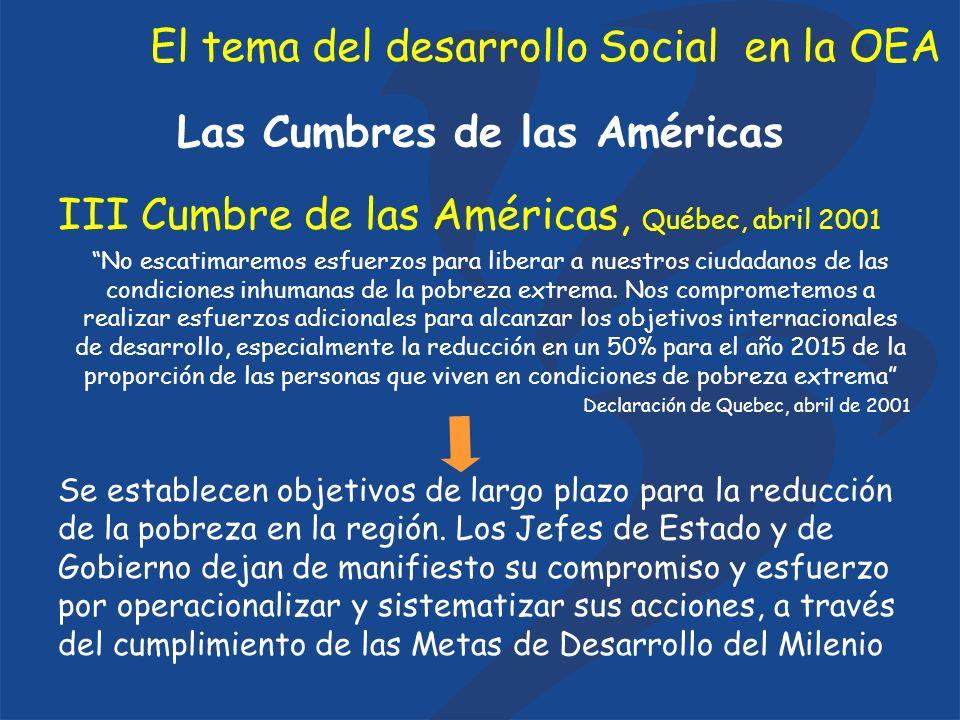 El tema del desarrollo Social en la OEA Las Cumbres de las Américas Cumbre Extraordinaria de las Américas, Monterrey enero de 2004 Reconocemos la urgencia de que se fortalezcan en la Organización de los Estados Americanos los mecanismos de lucha contra la pobreza, tales como el Consejo Interamericano para el Desarrollo Integral, la Comisión Interamericana de Desarrollo Social y el Programa Interamericano de Combate a la Pobreza y la Discriminación.