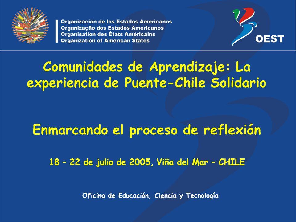 Oficina de Educación, Ciencia y Tecnología Comunidades de Aprendizaje: La experiencia de Puente-Chile Solidario Enmarcando el proceso de reflexión 18 – 22 de julio de 2005, Viña del Mar – CHILE